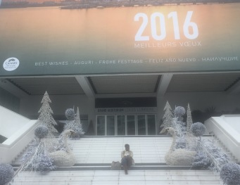 On the steps of the Cannes Film Festival arena